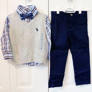 Boys outfit set 3T Andy & Evan button shirt vest